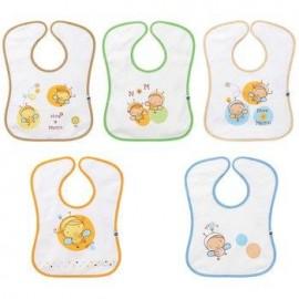 Bébé Confort 5 Bavoirs Eponge Doublé Plastique (0-6mois)