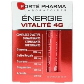 Forté Pharma Energie Vitalité 4 G ((10 Unidose) De (10 Ml) Goût Miel-Orange