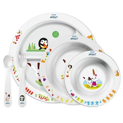 Avent Set mealtime complet 6mois + (assiette + 2 bols + set couverts 2ème âge)