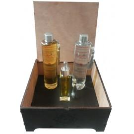 Mooi Coffret Cadeau 1 ( huile Figue de Barbie 30 Ml )+ huile Argan (100 Ml) + Eau de rose (100 Ml) ) + Coffret En Bois Mooi