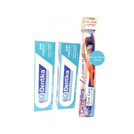 Dentika Soin complet Deux Dentifrices 100 ml + Brosse à dents offerte