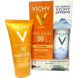 Vichy Capital Soleil Crème teinté bonne mine Adultes spf50+ (50 ml)+ Vichy Eau Thermale offerte 50 ml