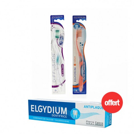 Elgydium Deux Brosses à dents + Dentifrice Anti Plaque 75 ml offert