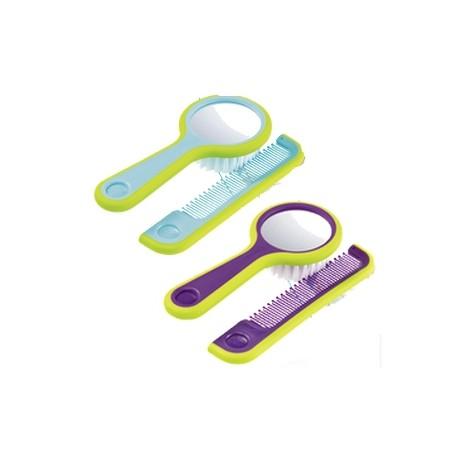 Bébé confort brosse poils nylon et miroir intégré au dos, et peigne aux dents arrondies, 0-36m